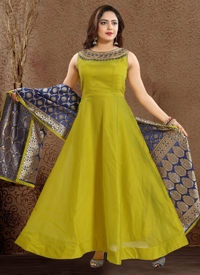 Green Chanderi Readymade Anarkali Suit
