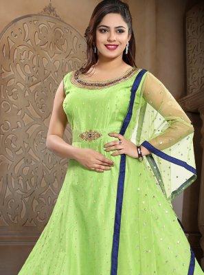 Green Chanderi Sangeet Anarkali Salwar Kameez