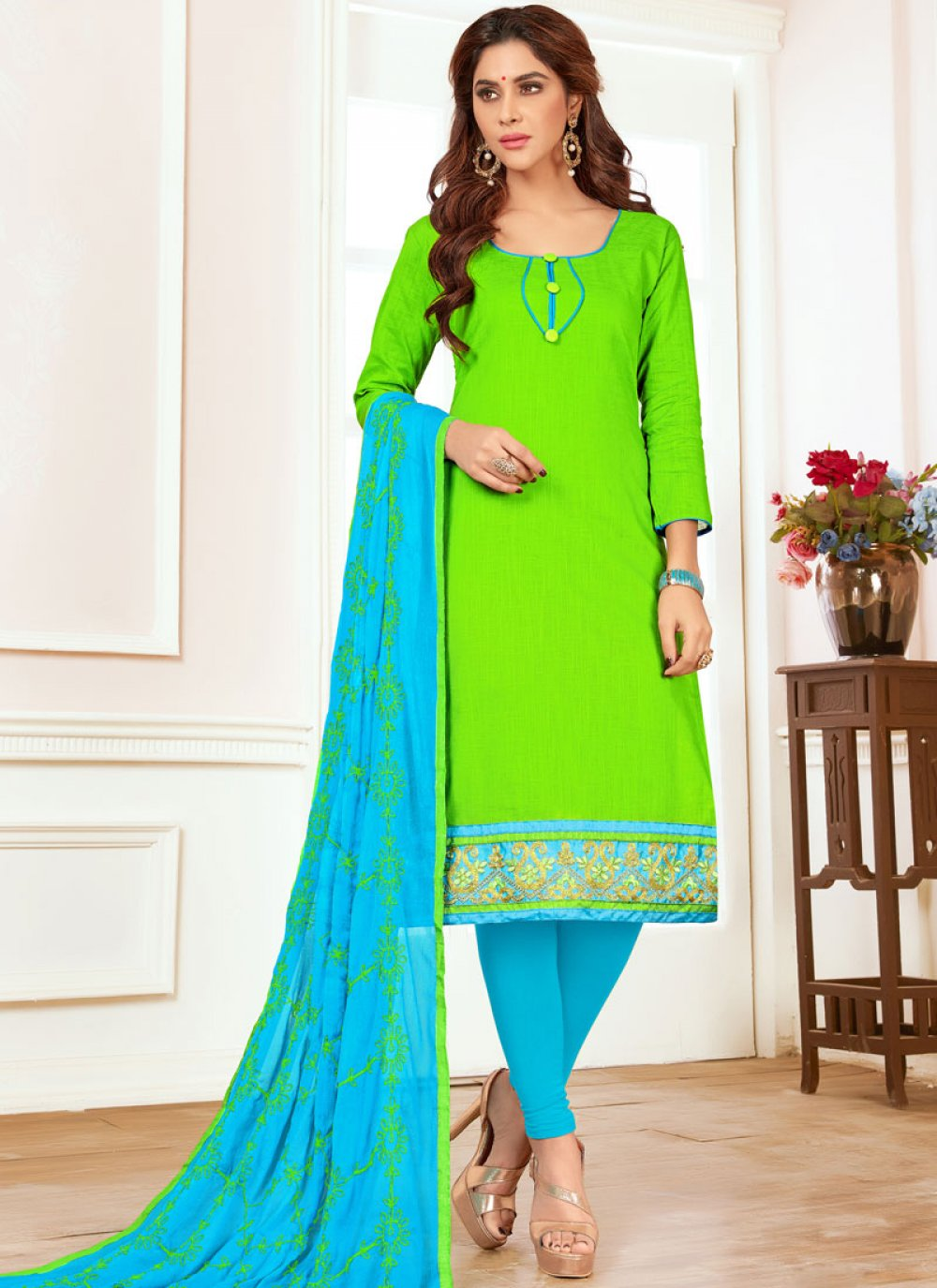 Green Churidar Suit