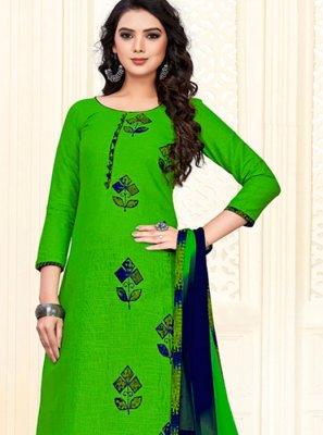 Green Color Churidar Suit