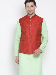 Green Color Kurta Payjama With Jacket
