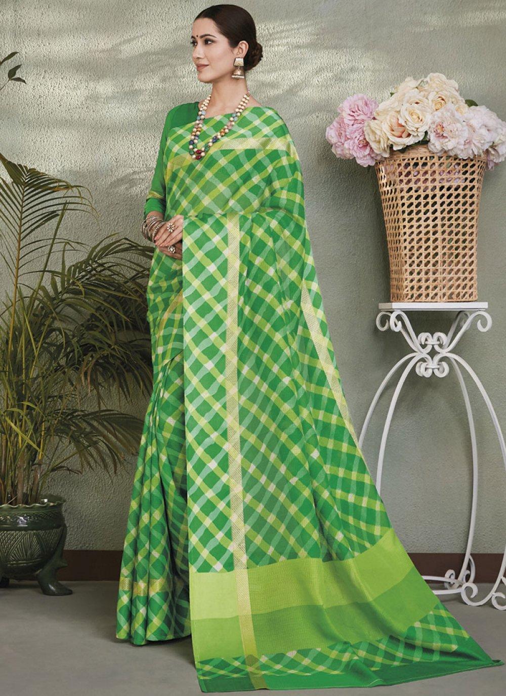 Green Color Printed Saree