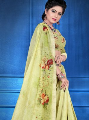 Green Color Printed Saree