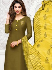 Green Cotton Casual Churidar Suit