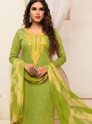 Green Cotton Casual Churidar Suit