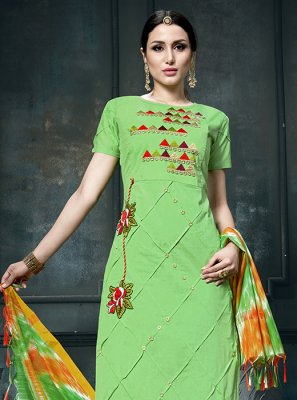 Green Cotton Designer Straight Suit