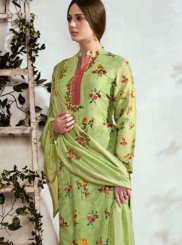 Green Cotton Designer Suit