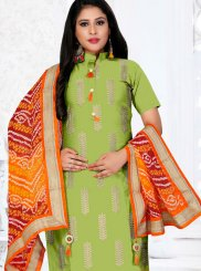 Green Cotton Festival Churidar Designer Suit