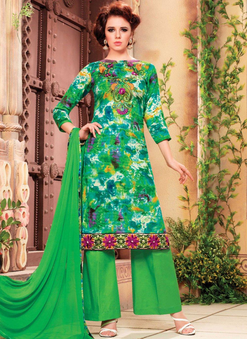 Green Cotton Palazzo Salwar Kameez