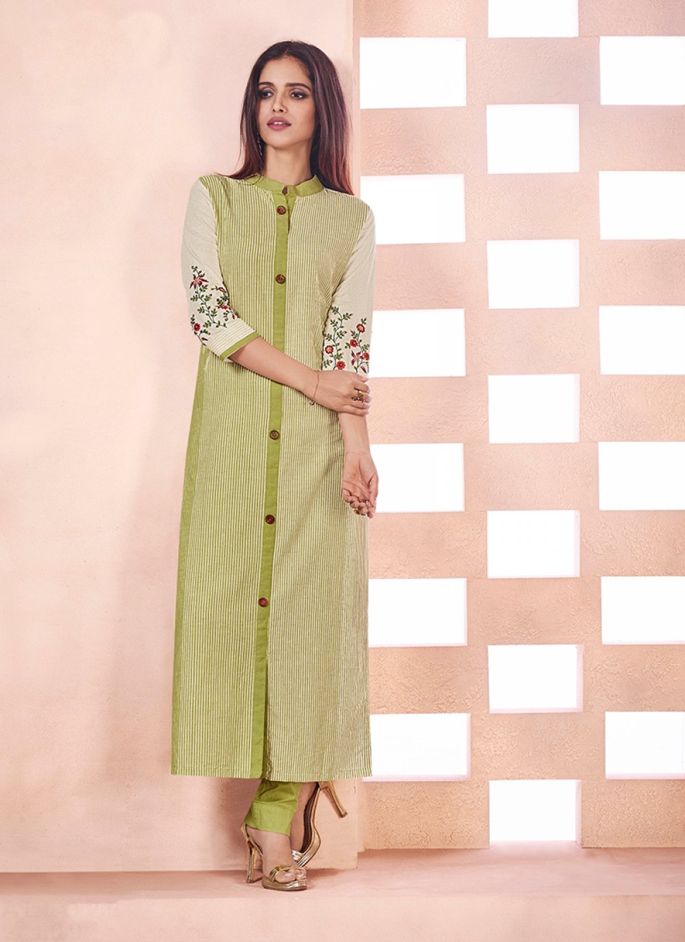 Green Cotton Party Party Wear Kurti