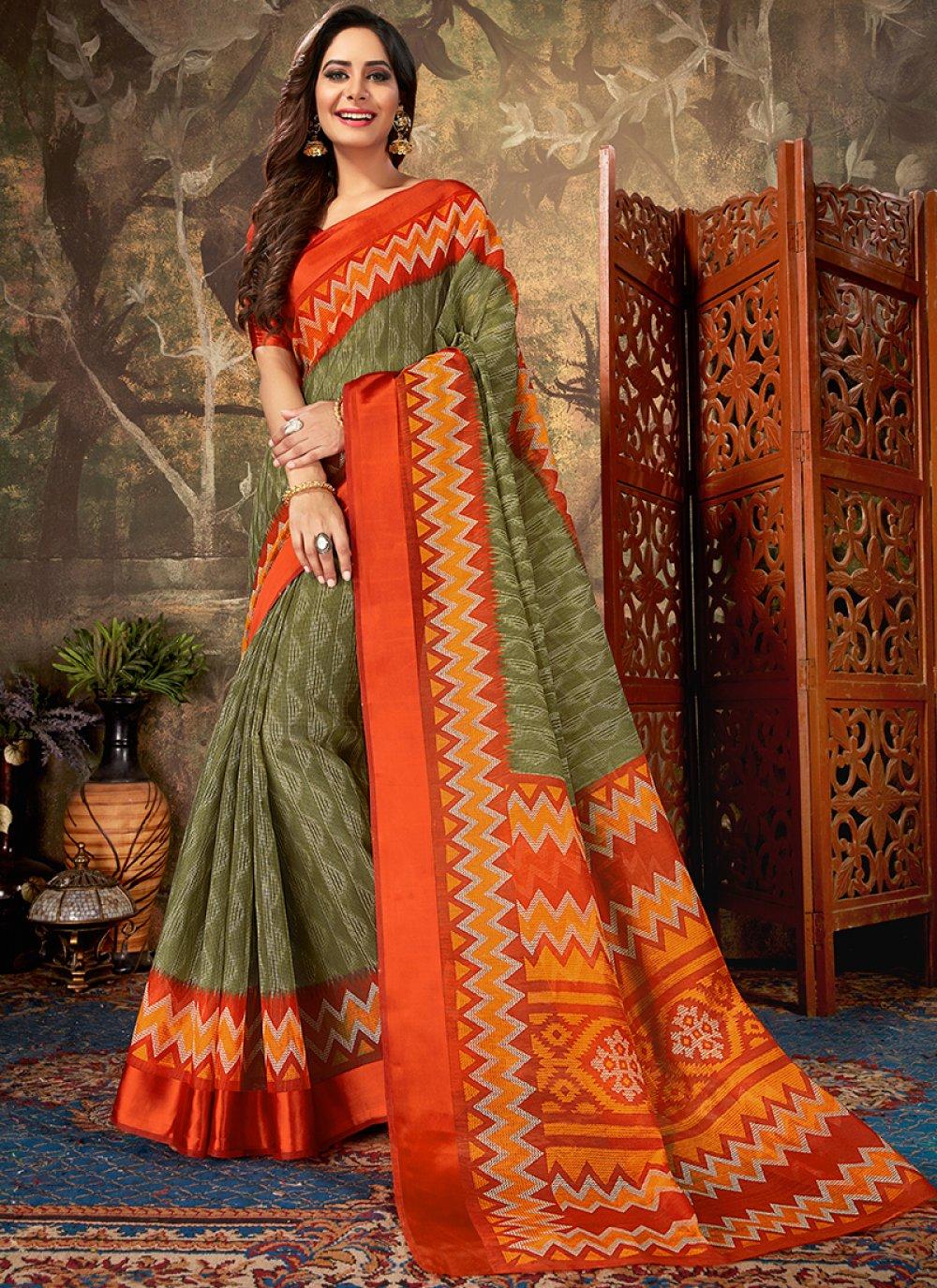 Green Cotton Reception Classic Designer Saree