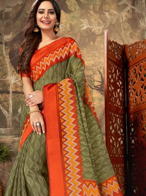 Green Cotton Reception Classic Designer Saree