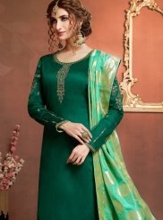 Green Cotton Silk Sangeet Churidar Salwar Suit