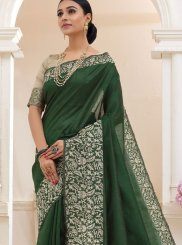 Green Cotton Trendy Saree
