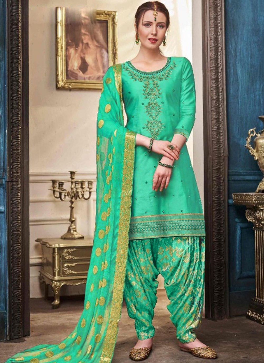 Green Designer Patiala Suit