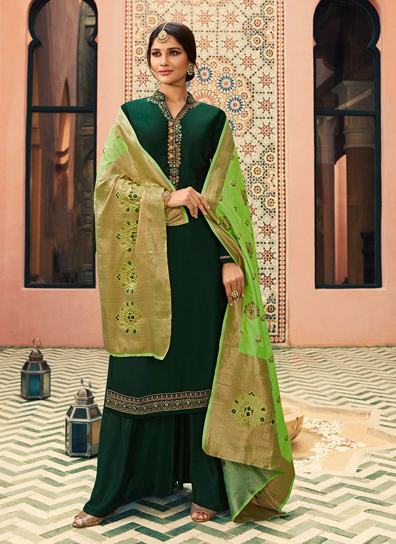 Green Designer Straight Suit