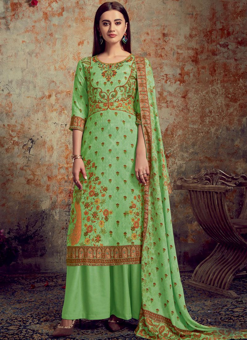 Green Digital Print Trendy Palazzo Suit