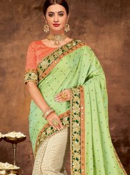 Green Embroidered Art Silk Designer Half N Half Saree