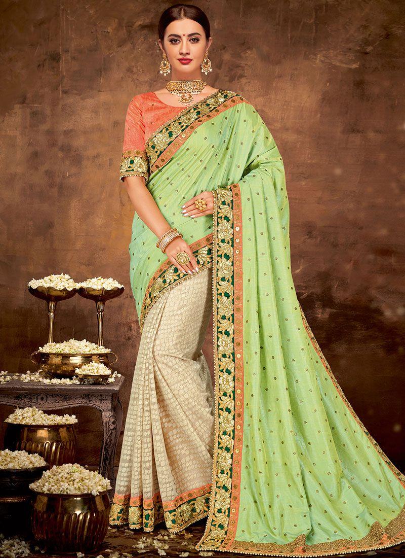 Green Embroidered Art Silk Designer Half N Half Saree