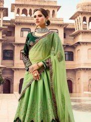Green Embroidered Art Silk Lehenga Choli