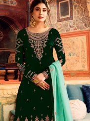 Green Embroidered Art Silk Palazzo Salwar Kameez