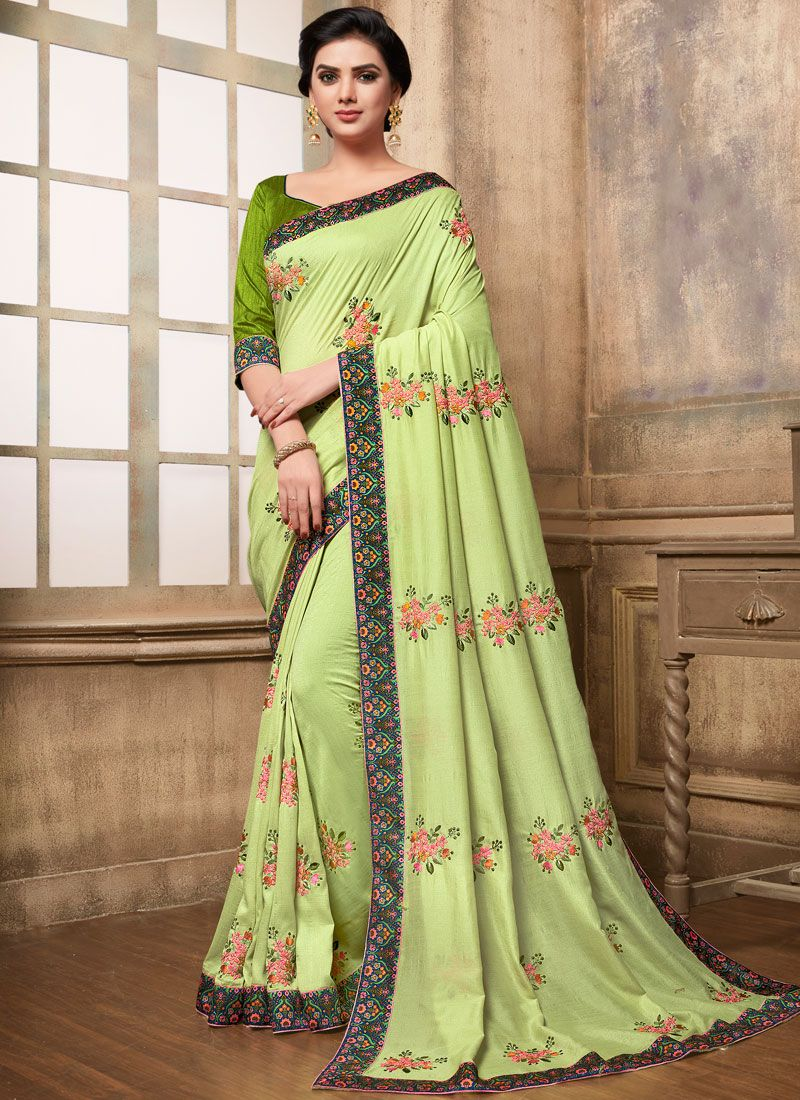 Green Embroidered Art Silk Traditional Saree