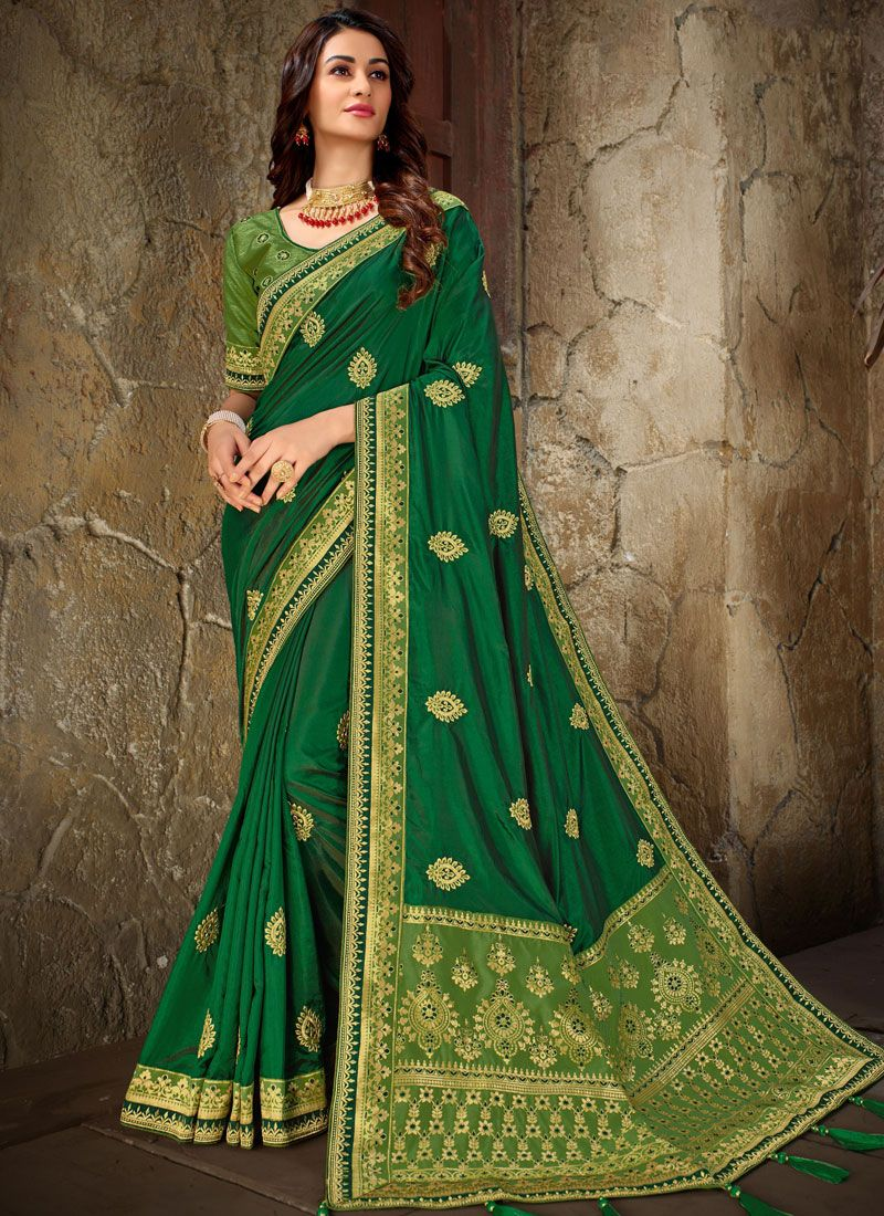Green Embroidered Art Silk Trendy Saree