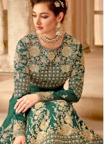 Green Embroidered Bembarg Anarkali Salwar Suit