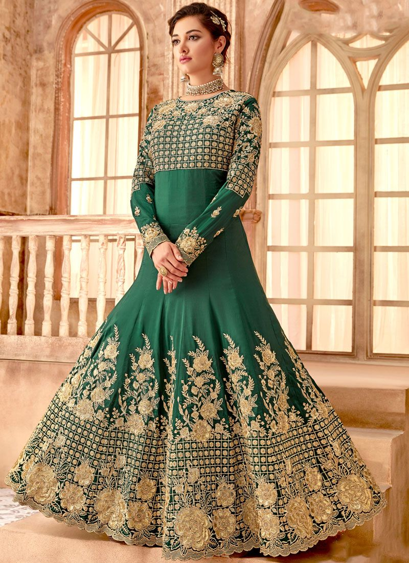 f5a2a6c1651 Shop Green Embroidered Bembarg Anarkali Salwar Suit Online : 113987 -