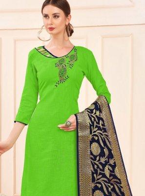 Green Embroidered Casual Salwar Kameez