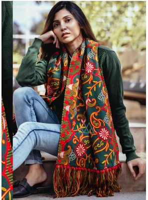 Green Embroidered Casual Stole