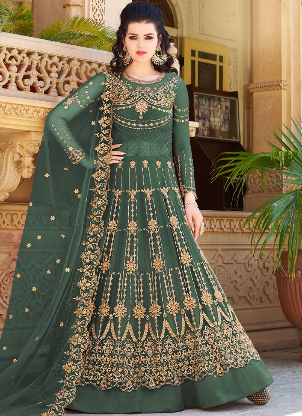 Green Embroidered Ceremonial Designer Lehenga Choli