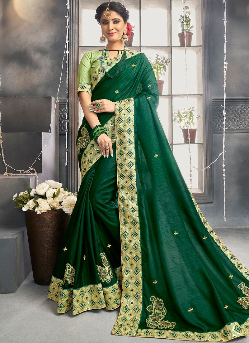 Green Embroidered Ceremonial Designer Saree