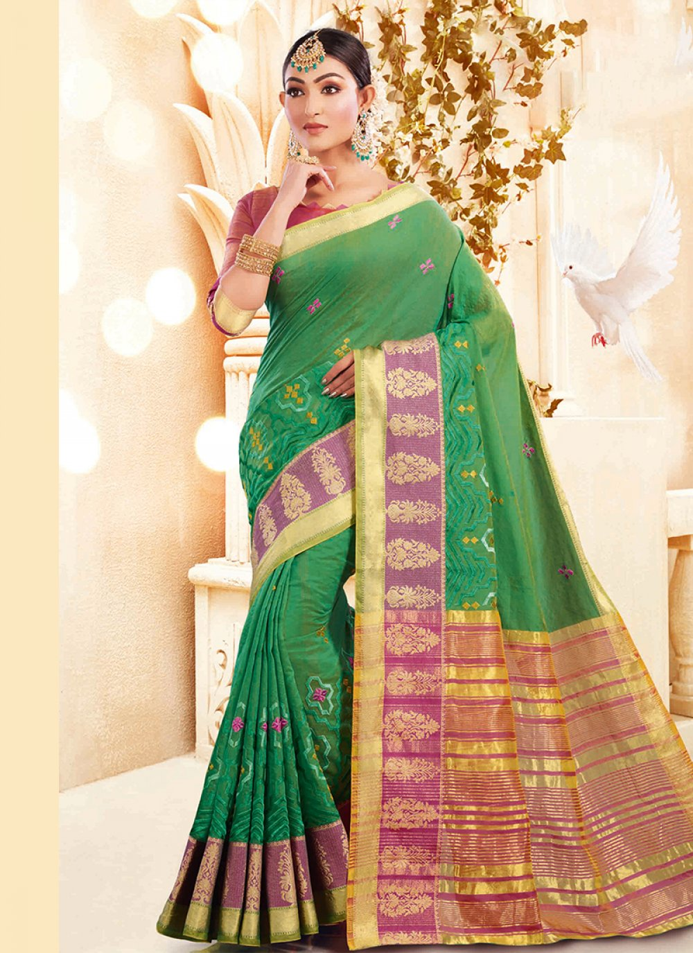 Green Embroidered Ceremonial Designer Traditional Saree