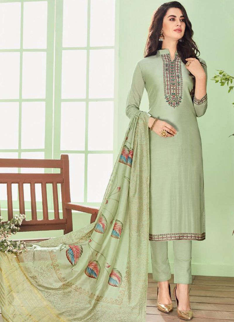 Green Embroidered Ceremonial Pant Style Suit