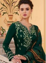 Green Embroidered Ceremonial Readymade Suit