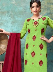 Green Embroidered Chanderi Cotton Churidar Suit