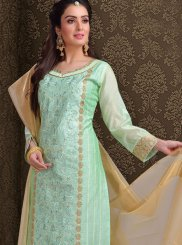 Green Embroidered Churidar Designer Suit