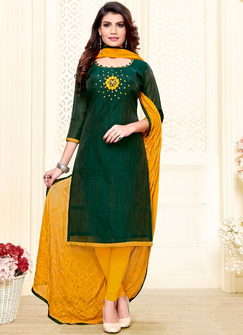 Green Embroidered Cotton Churidar Suit