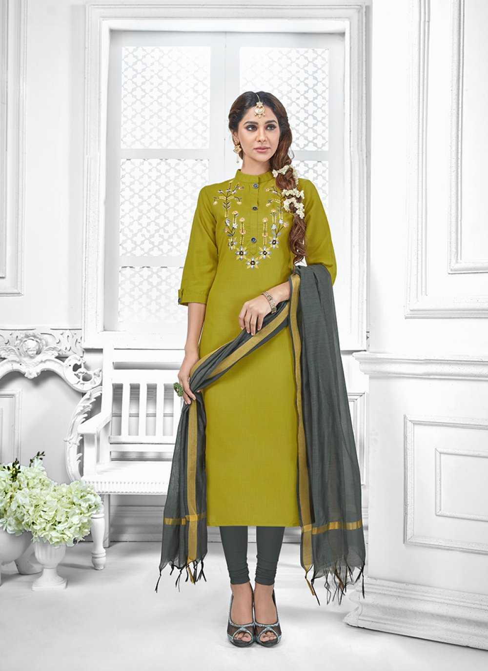 Green Embroidered Cotton Salwar Suit