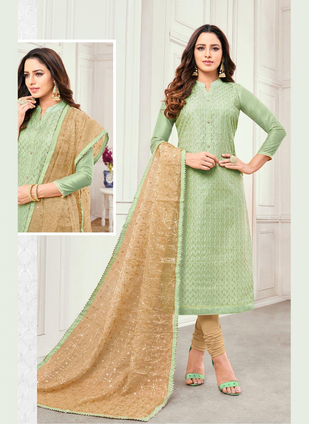 Green Embroidered Cotton Satin Salwar Kameez