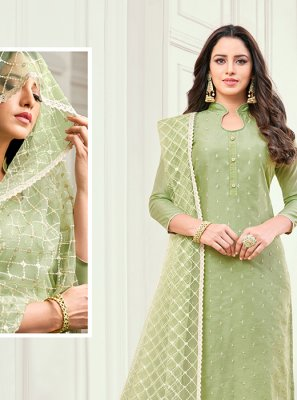 Green Embroidered Cotton Satin Salwar Kameez