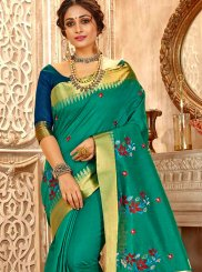 Green Embroidered Cotton Silk Classic Saree