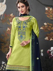 Green Embroidered Cotton Silk Designer Patiala Salwar Kameez