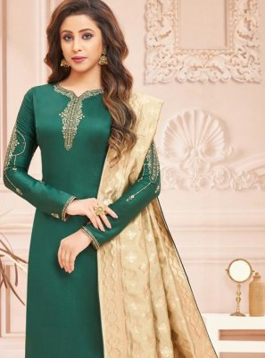 Green Embroidered Cotton Silk Designer Straight Suit