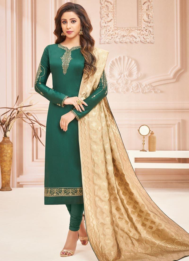 Green Embroidered Cotton Silk Designer Straight Suit