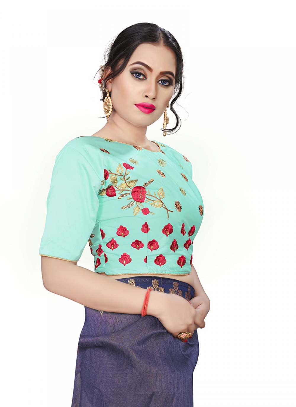 Green Embroidered Designer Blouse