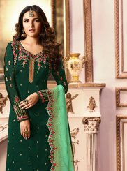 Green Embroidered Designer Straight Salwar Kameez