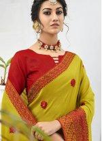 Green Embroidered Faux Chiffon Designer Saree