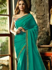 Green Embroidered Faux Chiffon Traditional Saree